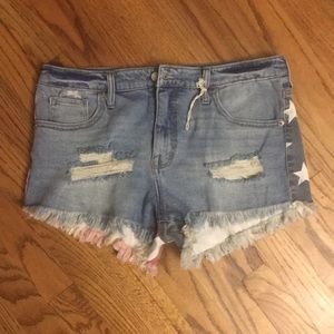 Mossimo flag jean cut off shorts